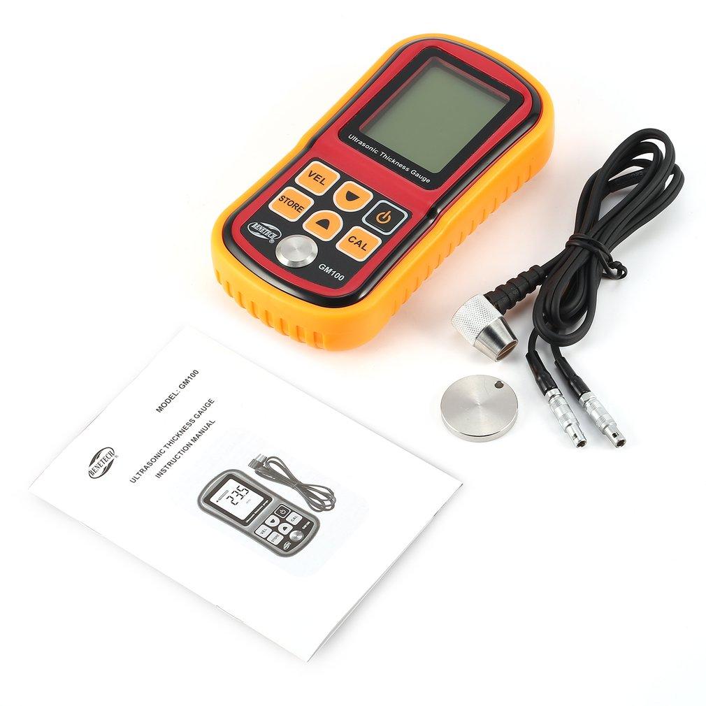 GM100 Digital 1.2~225mm Thickness Gauge Meter Ultrasonic Testering Steel Voice Sound Velocity Width Measuring Instruments gm100 1 2 225mm ultrasonic thickness gauge metal width tester voice velocity 1000 9999m s meter measuring instruments