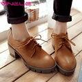 VINLLE 2017 Women Pumps Beige High Heel Round Toe Thick Heel Lace Up Woman Shoes PU Platform Spring Autumn Shoesbig Size 34-43