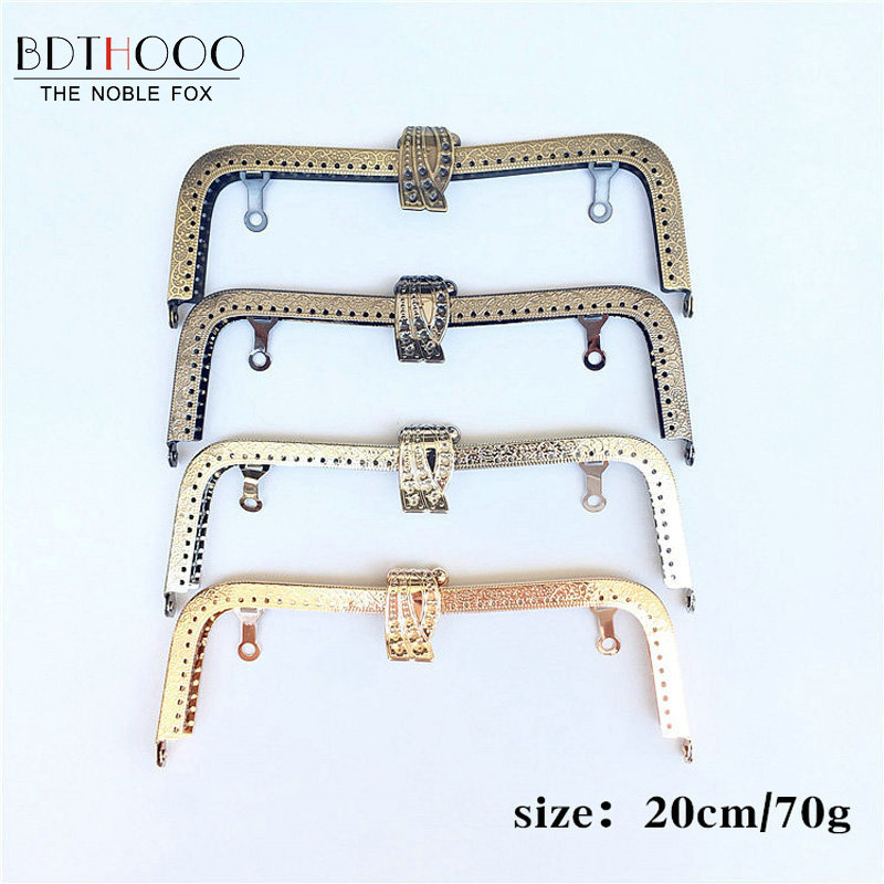BDTHOOO 10pcs 20cm Metal Purse Frame Handle for Clutch Bag Accessories DIY Kiss Clasp Lock Antique Bronze Embossing Bag Hardware