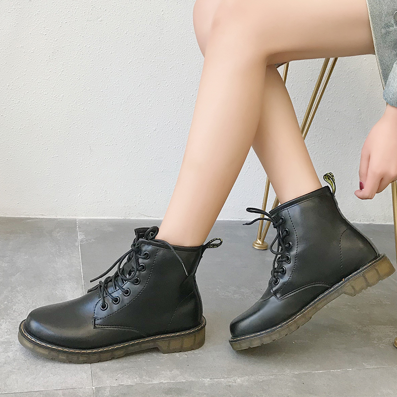 Fashion Punk Boots Combat For Women Autumn Ankle Soft Lace Up Ladies Leather Black Platform