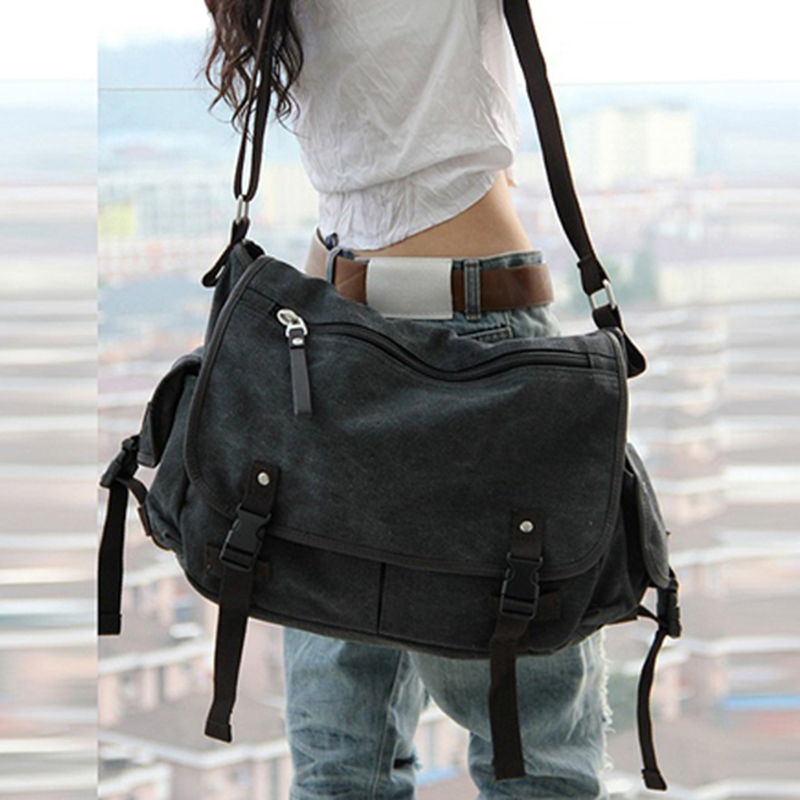 vintage fashion unisex canvas messenger bag book laptop school shoulder bags ladies women crossbody bags handbag men travel bag Unisex Men Messenger Bags High Quality Retro Canvas Leather Big Shoulder Bag Causal Laptop Travel Bags Women Crossbody Bag
