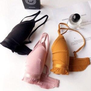 Image 4 - Ropa de dormir cómoda para niñas pequeñas, Copa pequeña de algodón, almohadilla sin aros, sujetador y bragas, lencería, Bralette