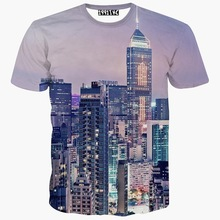 America Empire State Building printed 3d t shirt Men's short sleeve casual t-shirt cool summer tops tees city t shirt