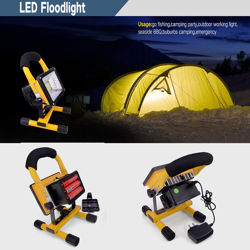 Light Weight and Portable LED light Lamps 30W with Rechargeable Battery 2400Lm Cordless Lamp Yellow led Spotlight For Camping 2017 new led rechargeable cordless mining cap light waterproof led miners lamp headlight for fishing and professional works