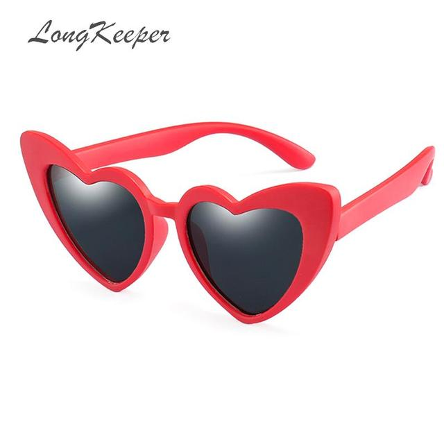07e6c4170c Long Keeper 2019 TR90 kids sunglasses heart shape polarized sun glasses  safety black pink red goggles