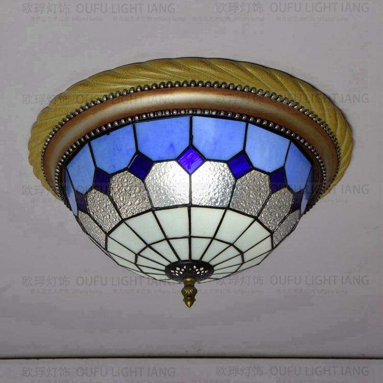 European Mediterranean blue diamond glass bedroom dining room lobby balcony corridor ceiling lamp