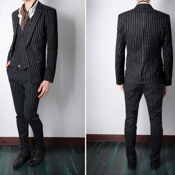 a093d07ae998e Siyah ve beyaz terno slim fit şerit blazer pantolon takım elbise erkek  giyim erkek resmi elbise