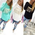 Fashion Women Lady Hollow Out Long Sleeve Shirt Casual Loose T shirt Tops