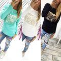 Mulheres da moda Senhora Escavar Camisa de Manga Comprida Casual camisa Solta T Tops
