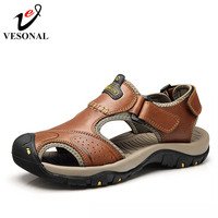 VESONAL Brand Genuine Leather Summer Soft Male Sandals Shoes For Men Breathable Light Beach Casual Quality