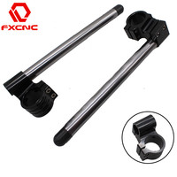 FX CNC Gray 7 8 Motorcycle HandleBars Raise Clip On Fork Handle Bars Clip On Universal