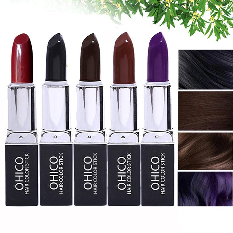 New Portable Plant Extracts Disposable Temporary Hair Dye Coloring Pen Pencil Stick Lipstick Covering White Hair