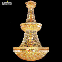 Luxury Villa Europe Large Gold Luster K9 Crystal Chandelier Light Fixture Classic Light Fitment for Hotel Lounge Decoratiion