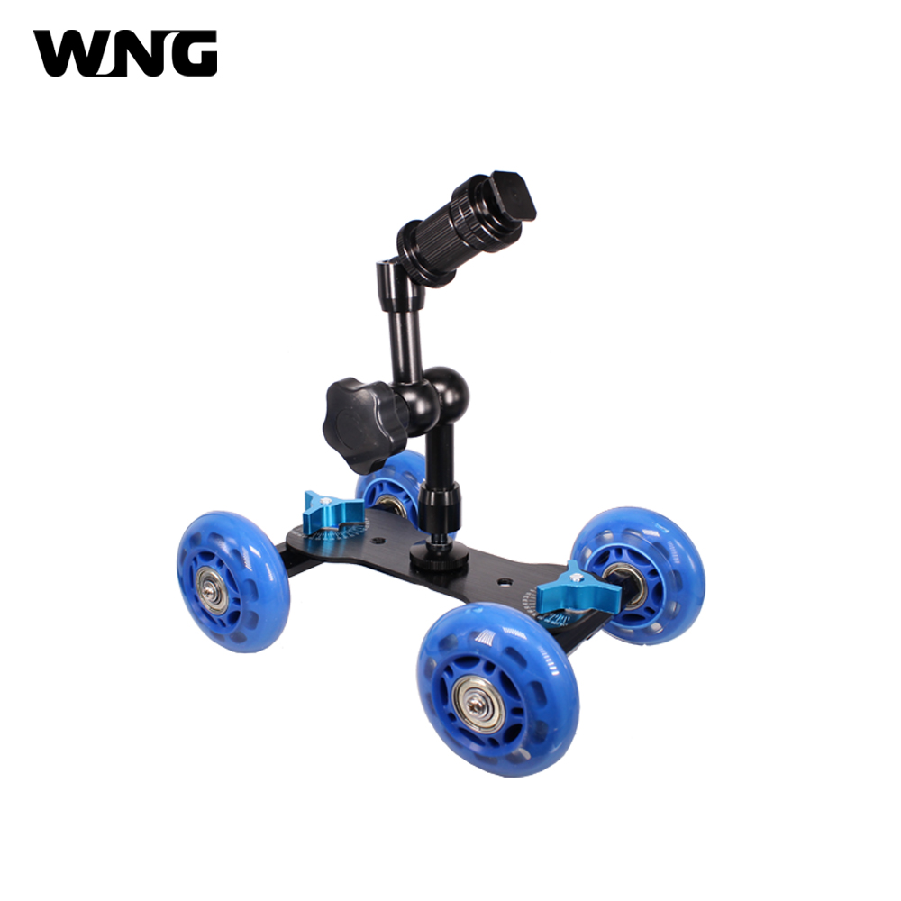 Mini Dolly Car Table Video Slider Desktop Dolly Car with 7 Magic Arm for Canon Nikon DLSR Camera image