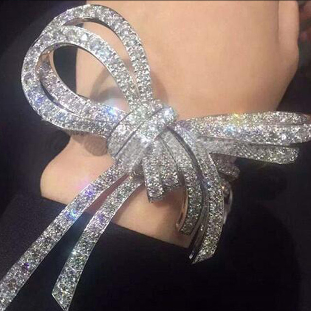 SOU Francês Bandas Design Gravata Grande Arco Borboleta 925 de Prata Cristal Austríaco Pulseira jóias de Noiva Pena Palma Mão Cuff Pulseiras