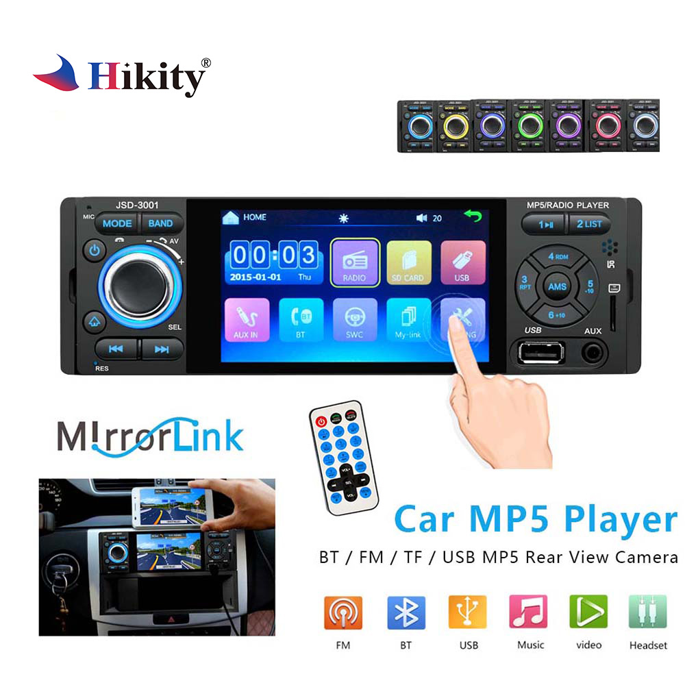 Hikity 1 din jsd 3001 Car Radio 4 Inch Touch Screen Mirror Link Auto Audio Bluetooth