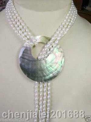 6 7MM White Akoya Cultured Pearl Necklace Shell Pendant 50