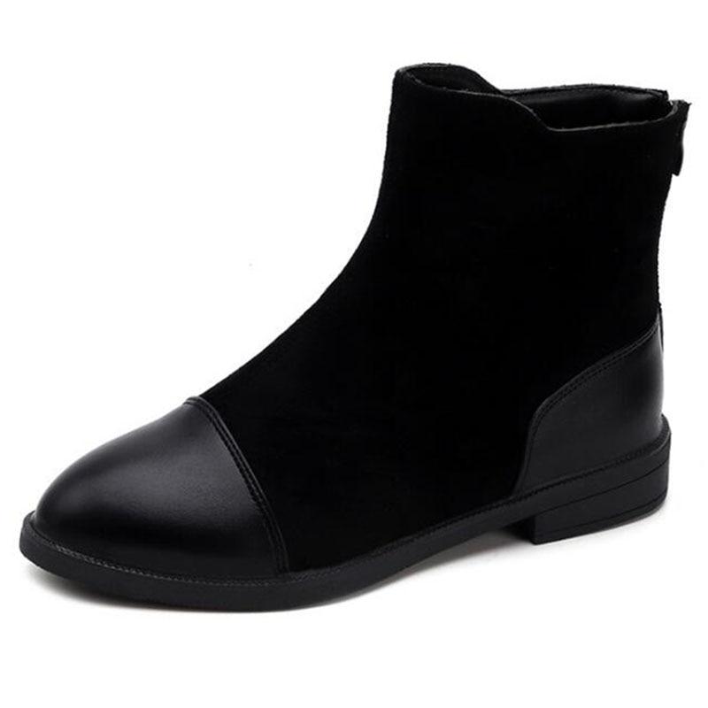 Tobillo Covoyyar Mujer Botas Patchwork Otoño Bajo Zapatos Wbs1024 Casuales En Negro 2019 Tacón gris De Invierno Cremallera Vintage zrBzq4