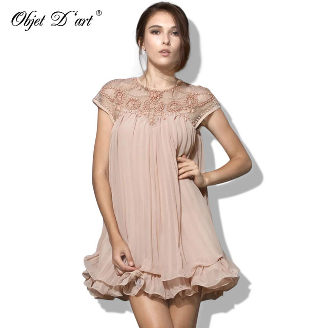 Summer Elegant Women Dresses Emboridery Lace Pleated Short Sexy Party Dress Hollow Out Chiffon Dress Apricot Vestido de festa