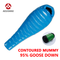 AEGISMAX 95 White Goose Down Mummy Camping Sleeping Bag Cold Winter Ultralight Baffle Design Camping Splicing