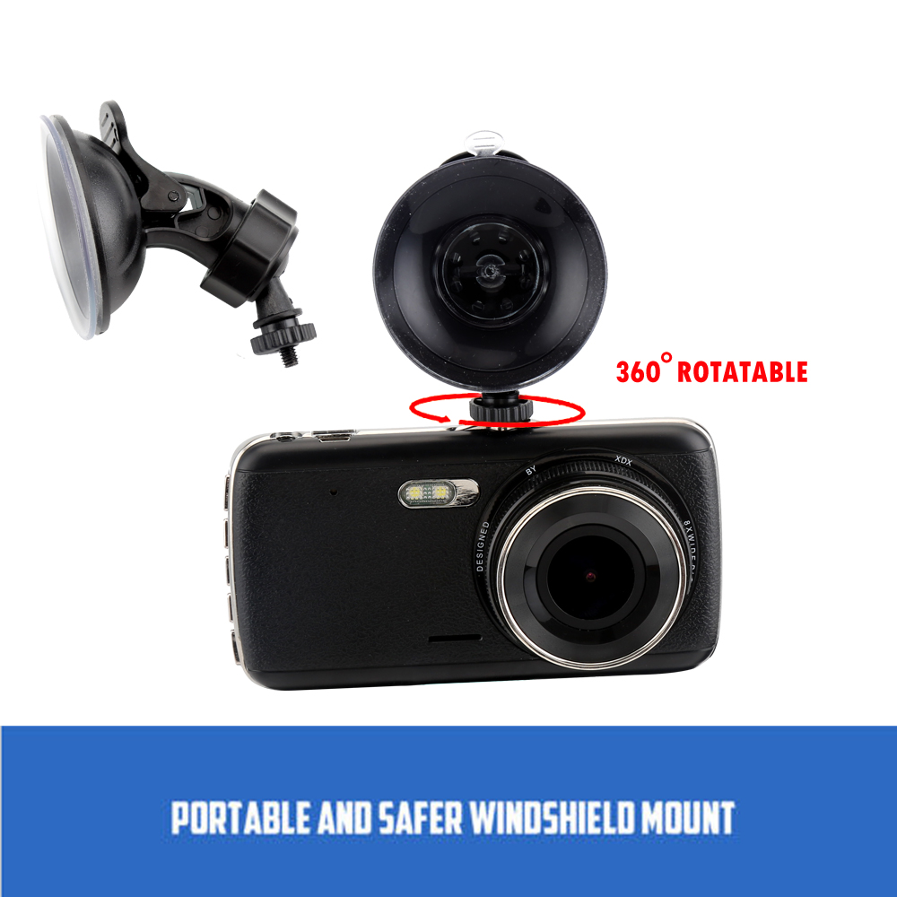 4.0 IPS Car DVR Camera Dual Lens Dash Cam FHD 1080P with Rear view Auto Registrator Digital Video Recorder Camcorder