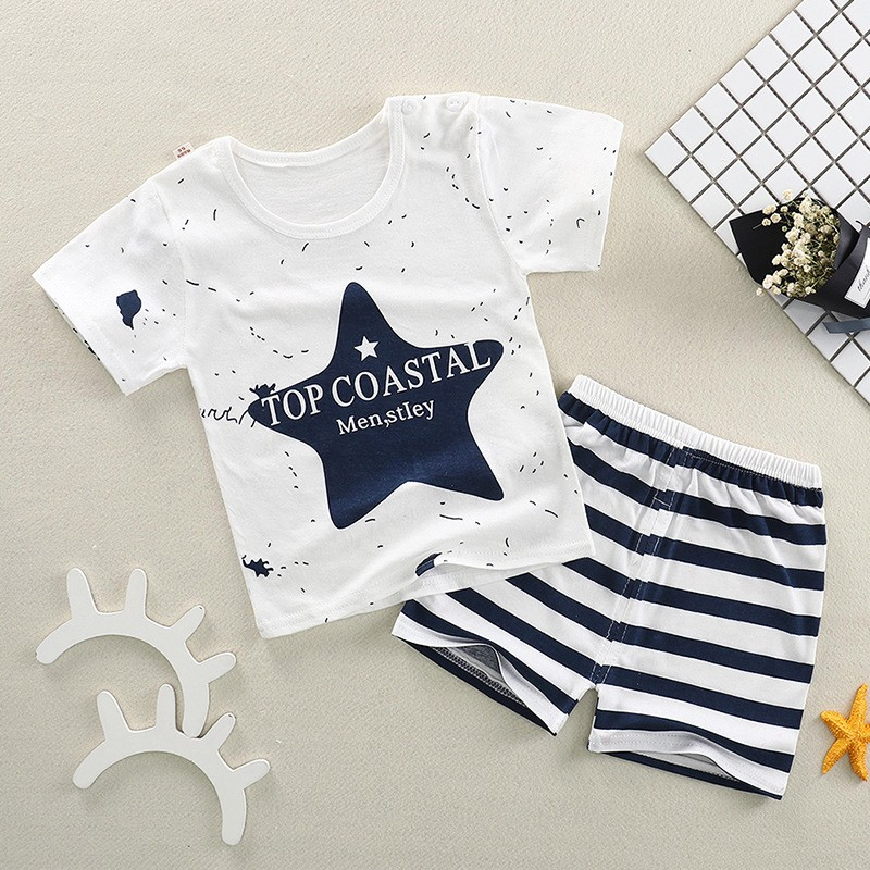 BEFORW Fashion Summer Cotton Boys Clothes Print T-Shirt + Shorts Girls Boys T-Shirt Set 0-2 Years Old Casual Children's Clothing 2017 summer style girls clothing sets fashion cotton print short sleeve t shirt and denim shorts girls clothes casual suits