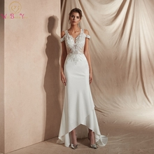White Evening Dress 2019 Reflective Satin Simple Lace Beading Top Robe Femme Floor Length New Arrival Elegant Prom Gown