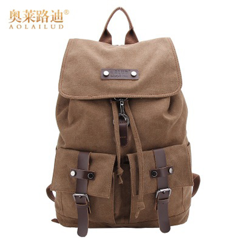 AOLAILUD Famous Brand New Style Canvas Men Backpack For Students Large Capacity Shoulder Backpacks Casual Vintage Men Bags male new fashion simple style students canvas shoulder bag large capacity backpack change pouch four sets for girls boys