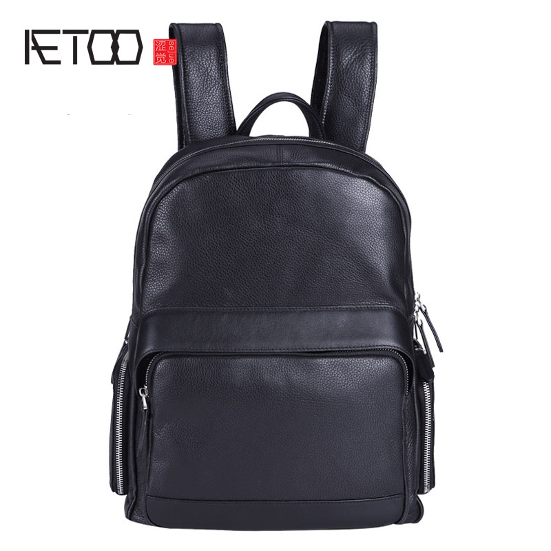 AETOO Men business backpack leather shoulder bag of the solid color travel bag youth tide male school bag woman in the summer of 2016 youth popular color patent leather crocodile pillow boston crossbody bag business mini pochette
