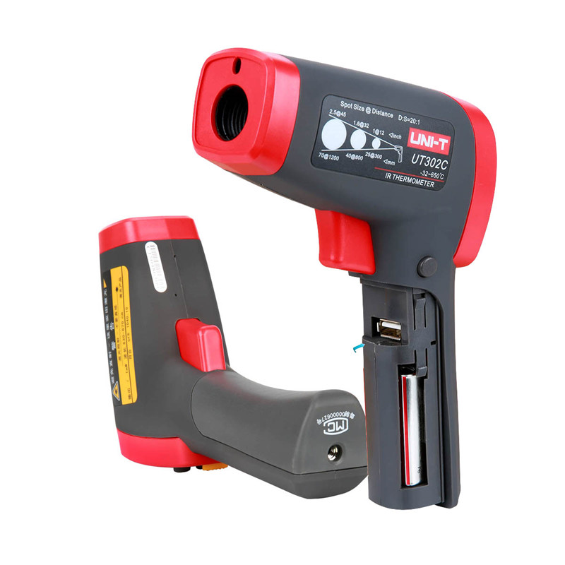 UNI-T UT302C infrared thermometer gun Handheld non contact infrared thermometer -32~650 Celsius Temperature Tester Pyrometer uni t ut302c 32 c 650 c infrared thermometers ut 302c non contact digital ir thermometer distance to spot size 20 1