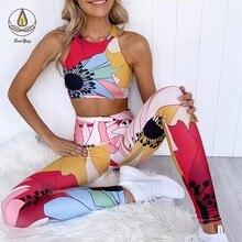 New 2 PCS Yoga Top Women Fashion Floral Print Yoga Set Seamless Lift Up Bra High Waist Running Leggings Sport Pants Workout Suit random floral print bra top