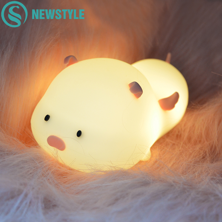 Colorful LED Cartoon Silicone Pig Night Light Timming USB Rechargeable Touch Sensor Beside Night Lamp For Children Kid Baby Gift