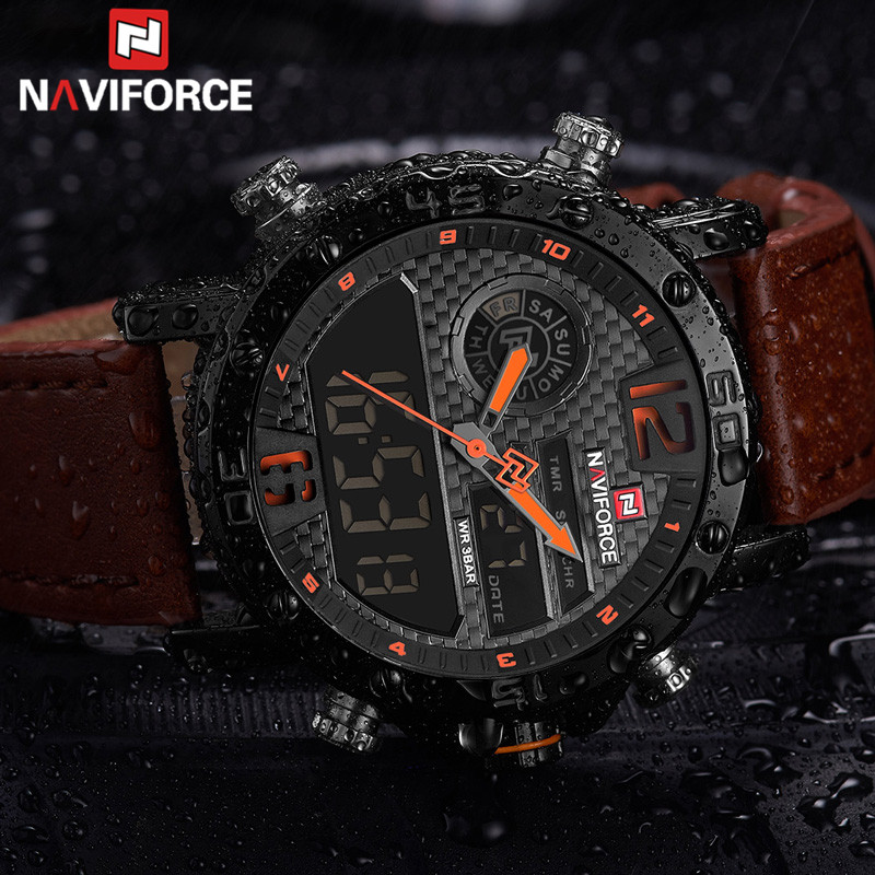 Mens Watches To Luxury Brand Men Leather Sport NAVIFORCE Men Watch Quartz LED Digital Clock Waterproof Military Wrist Watch 9134
