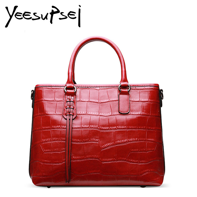 YeeSupSei Women Handbag Luxury Crocodile Woman Bag Designer Genuine leather Lady Handy Shoulder Bag High Quality Handle Tote Bag цена