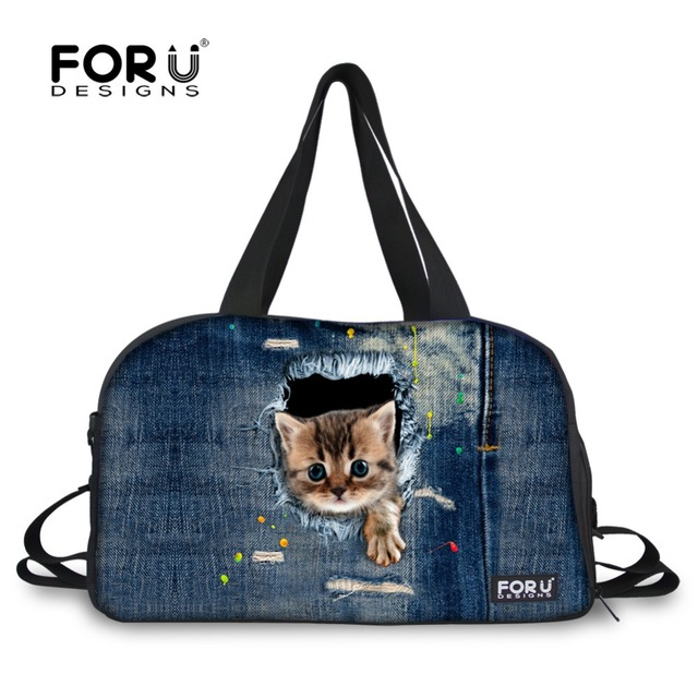 e3807792fdc5 FORUDESIGNS brand women travel duffle bag animal zoo cute cat print women  travel duffle bags multicolor large ladies travel bags