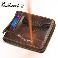 Short Coin Purse Men Cow Genuine Leather   Wallet   Male Zipper Around Credit Card Holder   Wallets   High Quality Trifold Clutch Bag