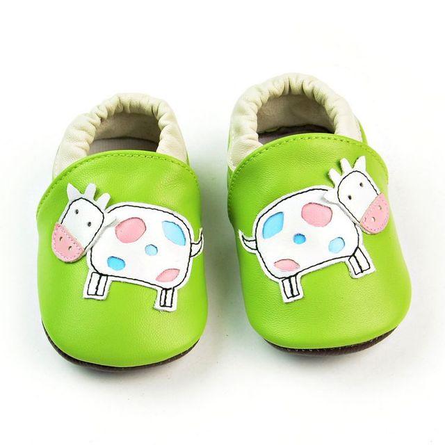 Varejo New Couro Genuíno Sapatos Mocassins vaca impresso meninos das meninas Do Bebê Sapatos Recém-nascidos Do Bebê primeiro walker Sapatos da criança Infantis