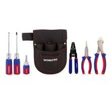 цена на WORKPRO 7PC Electrician Tool Set AWG wire Stripper Steel Long Nose Plier Diagonal Wire Cutting Plier Stubby Screwdrivers