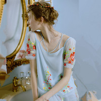 LYNETTE'S CHINOISERIE Dream water blue gauze embroidery flower spaghetti strap puff sleeve short sleeve top shirt