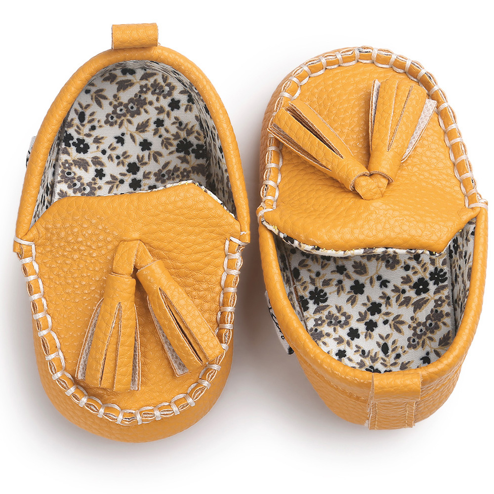 ROMIRUS 2017 PU Leather Tassel Moccasin Slippers Soft Sole Sneakers Baby Shoes For Newborn Infants Girl Boy First Walker Yellow