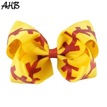 AHB 4.5 Softball Print Hair Bows for Girls with Clips Sparkly Ribbon Hairgrips Kids Cheer Party Accessories