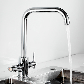 Kitchen Sink Faucet Mixer Seven Letter Design 360 Degree Rotation Water Purification Tap Dual Handle Series