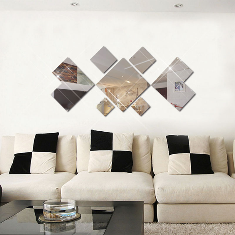 Fundecor New 3d Diamond Acrylic Mirrored Decorative Sticker Diy Bathroom Mirror Adhesive Wall Tile