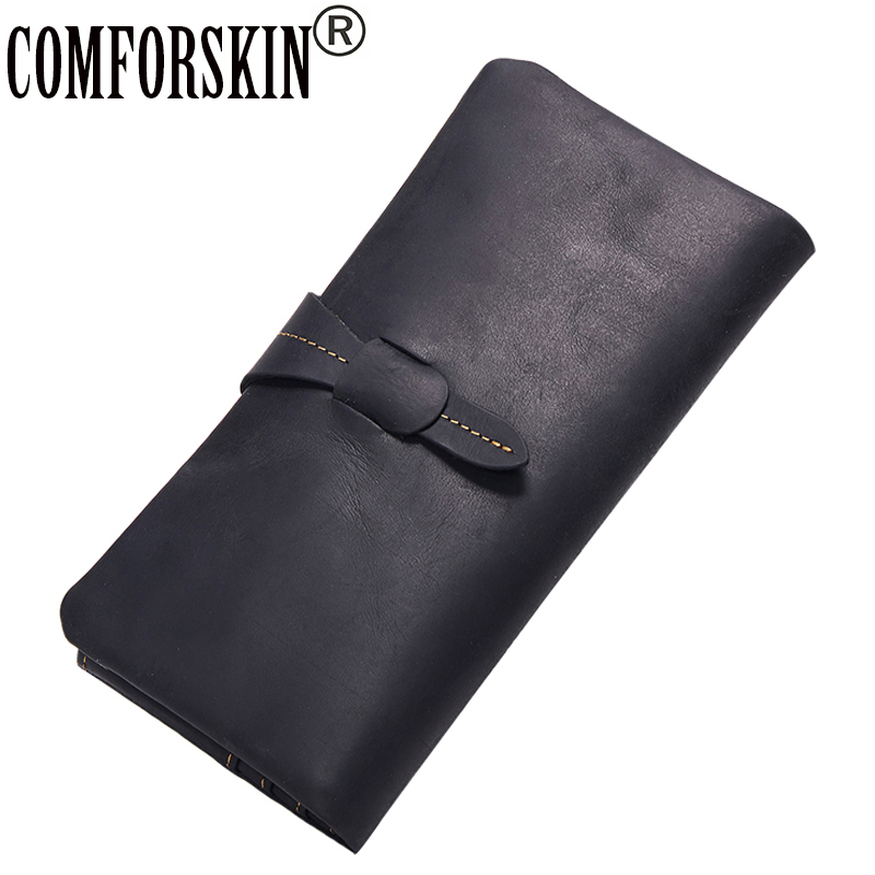 COMFORSKIN Premium Cow Leather Multi-Card Bit Men Wallet 2018 Brand Design Vintage Hasp Zipper Wallet Clutch Bags Card Wallets