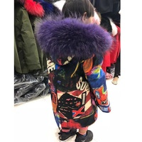 100% real fur fashion parten printed child winter real fur parkas coat big raccoon fur hoody collar genuine rex rabbit fur liner