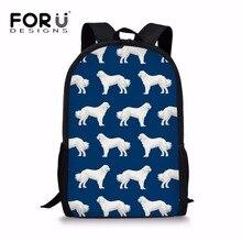 FORUDESIGNS School Bags for Kids Kawaii Girls Great Pyrenees Printing Schoolbag Backpack Teenagers Large Bookbags Shoulder Bag