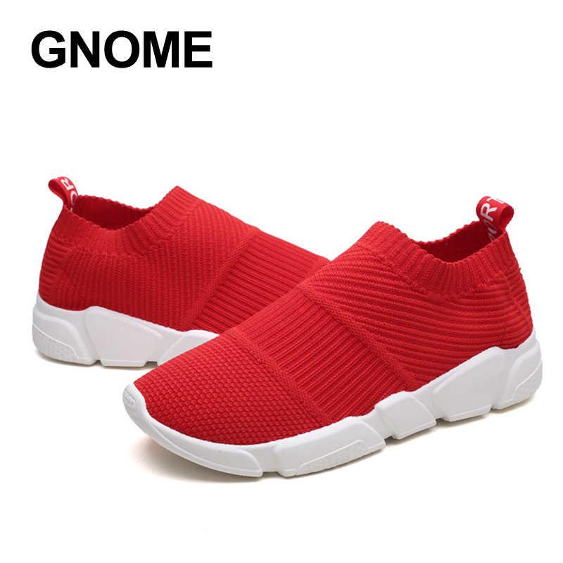 091ad209e ... Гном 2018 новые Мокасины носок туфли дышащие кроссовки обувь Для мужчин  прогулок Мужская обувь стрейч слипоны ...