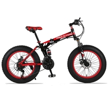 Mountain Bike 20″x 4.0 Folding Bicycle 21 speed road bike fat bike variable speed bike Front and Rear Mechanical Disc Brake