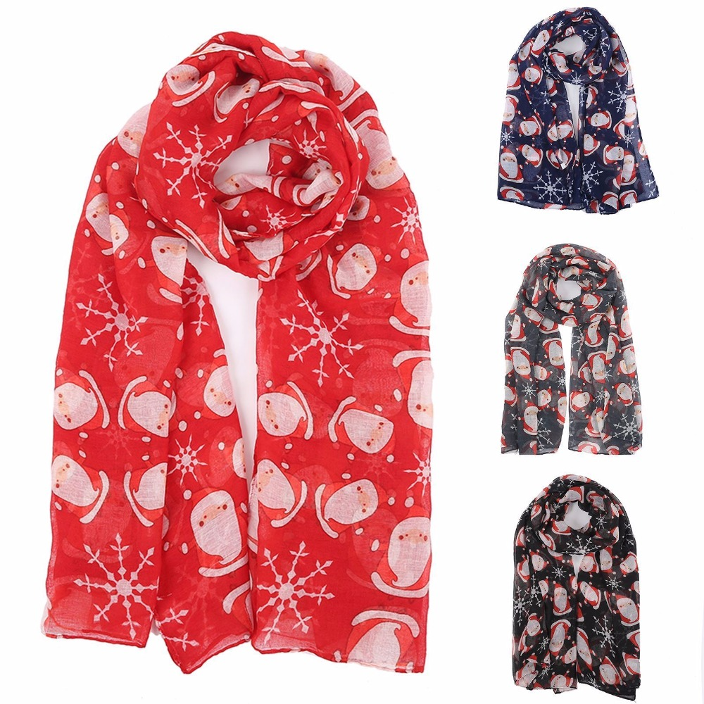 Christmas Scarf.Us 4 99 Santa Xmas Christmas Scene Print Neck Scarf Shawl Womens Neck Wrap Winter Gift In Women S Scarves From Apparel Accessories On Aliexpress Com