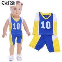 Best Selling Doll Clothes 2 Pcs Sports Ball Suits Suitable For 18 Inch American Doll & 43 Cm Born Doll For Generation Toy